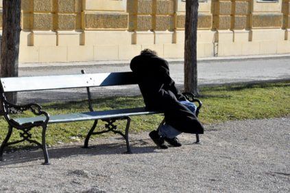 homeless, park bench, person